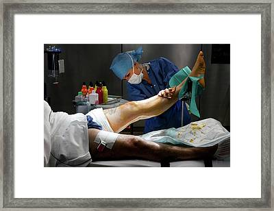 Preparation For Knee Surgery Framed Print