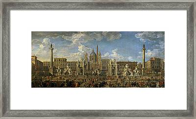 Preparation For The Firework Display Held At Piazza Navona, Rome, To Celebrate The Birth Framed Print