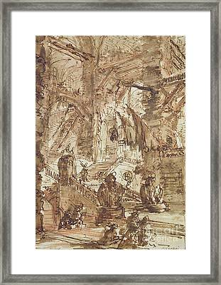 Preparatory Drawing For Plate Number Viii Of The Carceri Al'invenzione Series Framed Print by Giovanni Battista Piranesi