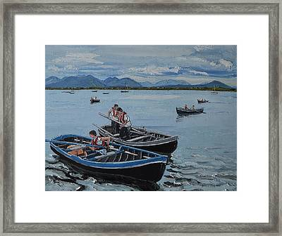 Preparing For The Currach Race Roundstone Ireland Framed Print