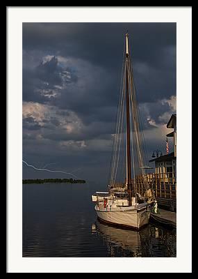 Sailboats Docked Digital Art Framed Prints