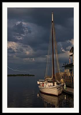 Sailboats In Water Digital Art Framed Prints