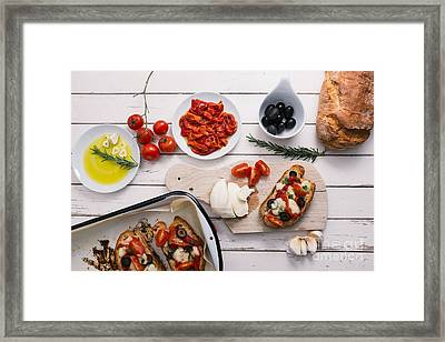 Preparing Italian Bruschetta Framed Print