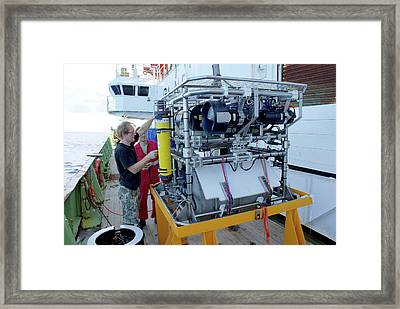 Preparing Robotic Underwater Vehicle Framed Print by B. Murton/southampton Oceanography Centre
