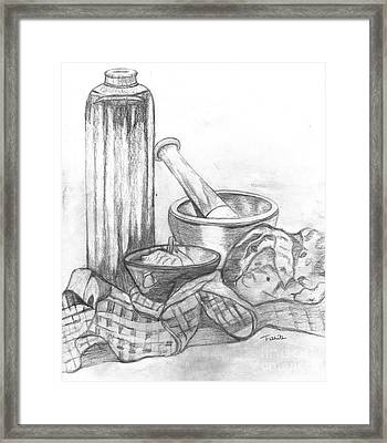 Framed Print featuring the drawing Preparing Starter Course by Teresa White