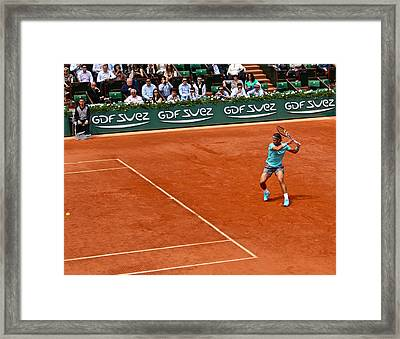 Rafael Nadal Preparing The Shot Framed Print by Alexi Hoeft