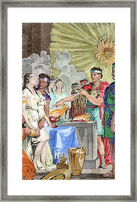 Presentation At The Inca Temple Framed Print by Prisma Archivo