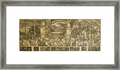 Presentation Drawing Of The Automotive Panel For The North Wall Of The Detroit Industry Mural Framed Print by Diego Rivera