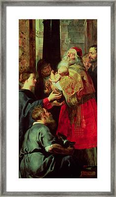 Presentation In The Temple Framed Print by Rubens