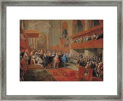 Presentation Of The Order Of The Holy Spirit To Prince Vaini By Paul-hippolyte De Beauvillers Framed Print by Giovanni Paolo Pannini or Panini