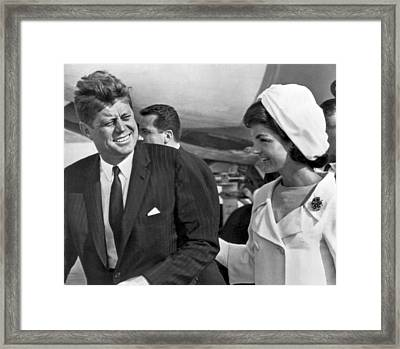 President And Mrs. Kennedy Framed Print by Underwood Archives