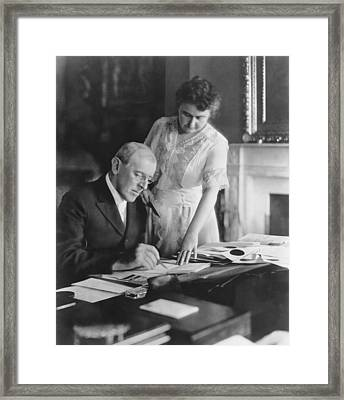 President And Mrs. Woodrow Wilson Framed Print by Underwood Archives