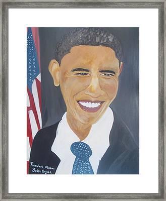 President  Barack Obama Framed Print by John Onyeka