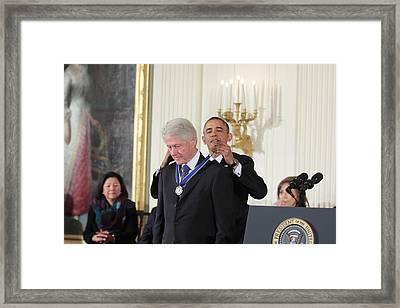 President Bill Clinton Medal Of Freedom Framed Print by Douglas Adams