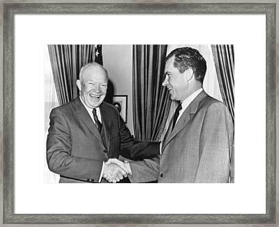 President Eisenhower And Nixon Framed Print