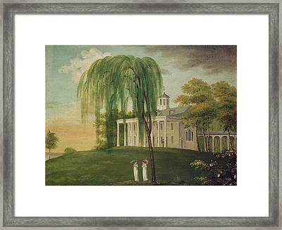 President George Washington 1732-99 On The Porch Of His House At Mount Vernon Oil On Canvas Framed Print by American School