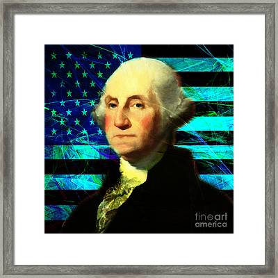 President George Washington V2 P138 Square Framed Print by Wingsdomain Art and Photography