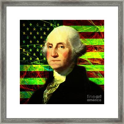 President George Washington V2 P50 Square Framed Print by Wingsdomain Art and Photography