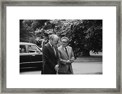 President Gerald Ford And Henry Kissinger 1974 Framed Print by Mountain Dreams