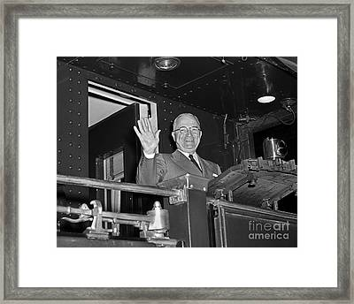 Framed Print featuring the photograph Harry Truman 1952 by Martin Konopacki Restoration
