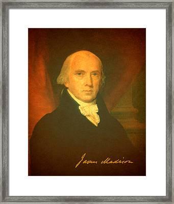 President James Madison Portrait And Signature Framed Print