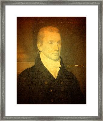 President James Monroe Portrait And Signature Framed Print