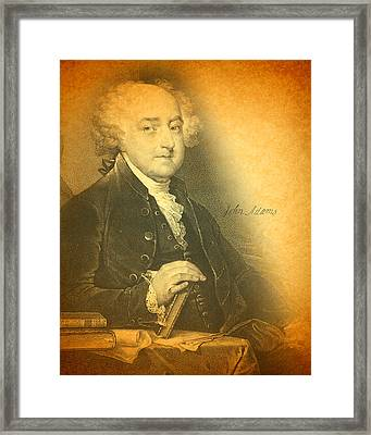 President John Adams Portrait And Signature Framed Print