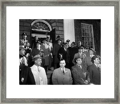 President John F. Kennedy Coming Up Steps Framed Print by Retro Images Archive