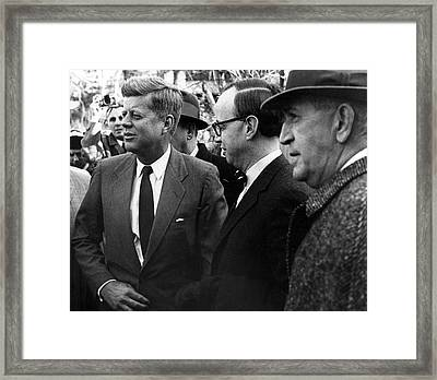 President John F. Kennedy In Group Framed Print by Retro Images Archive