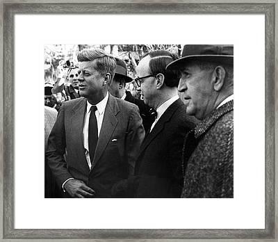 President John F. Kennedy In Group Framed Print