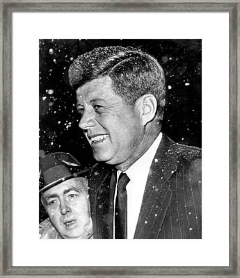 President John F. Kennedy In Snow Framed Print by Retro Images Archive