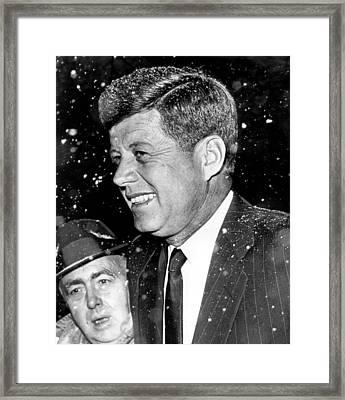 President John F. Kennedy In Snow Framed Print