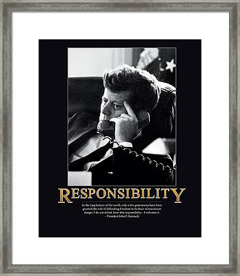 President John F. Kennedy Responsibility  Framed Print by Retro Images Archive
