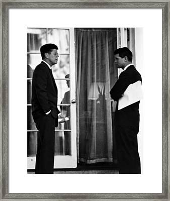 President John Kennedy And Robert Kennedy Framed Print by War Is Hell Store