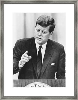 President Kennedy Speaks Framed Print by Underwood Archives