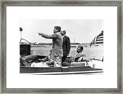 President Kennedy Tour Guide Framed Print by Underwood Archives