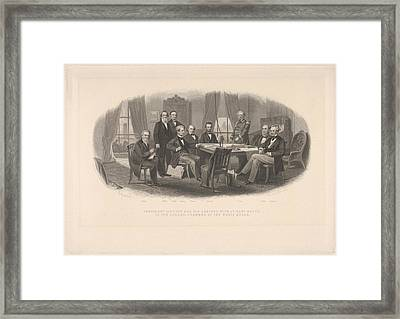 President Lincoln And His Cabinet Framed Print by After Christian Schussele