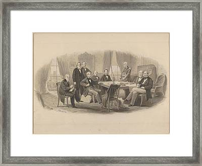President Lincoln And His Cabinet Framed Print by Christian Schussele