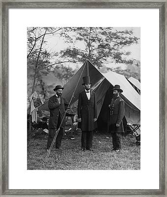 President Lincoln At Antietam Framed Print by Alexander Gardner
