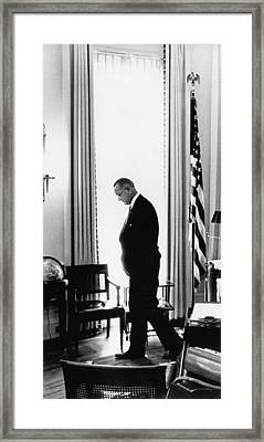 President Lyndon Johnson Paces Framed Print by Underwood Archives