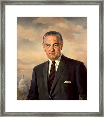 President Lyndon Johnson Painting Framed Print by War Is Hell Store