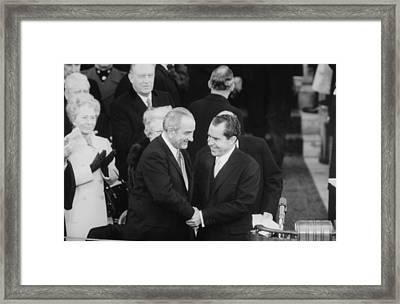 President Lyndon Johnson Warmly Shakes Framed Print by Everett