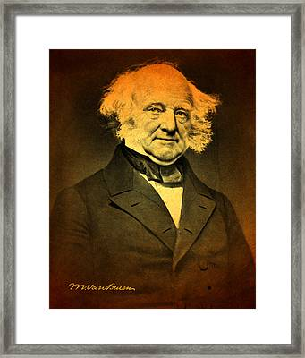 President Martin Van Buren Portrait And Signature Framed Print