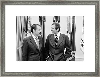 President Nixon Meets With Russian Poet Framed Print by Everett