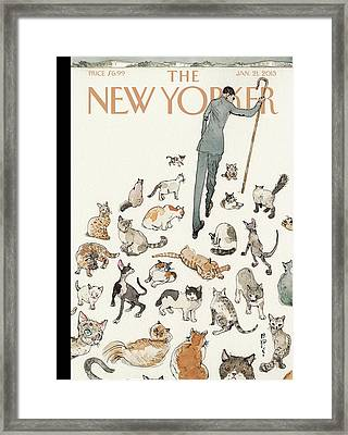 President Obama Attempts To Herd Cats Framed Print