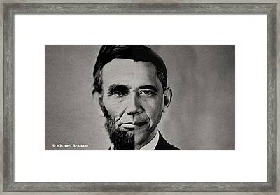 President Obama Meets President Lincoln Framed Print
