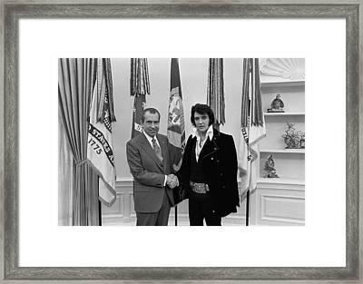 President Richard Nixon And Elvis Framed Print by Everett