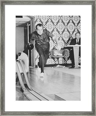President Richard Nixon Bowling At The White House Framed Print