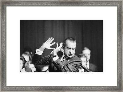 President Richard Nixon Gesturing Framed Print by Everett
