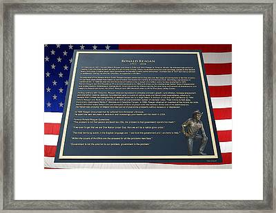President Ronald Reagan Plaque Framed Print by Thomas Woolworth
